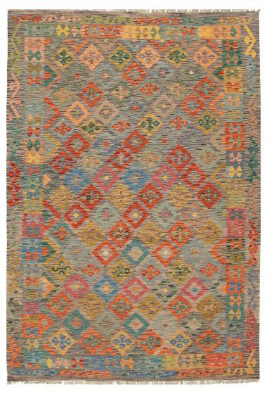 Bordered  Geometric Grey Area rug 6x9 Turkish Flat-weave 316281