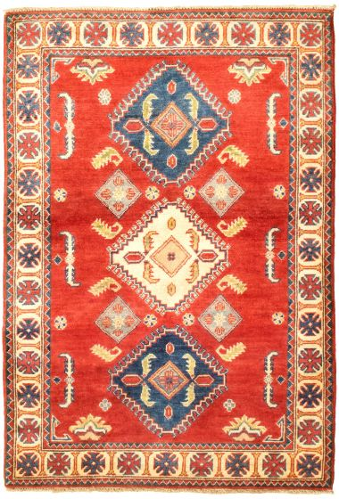 Bordered  Traditional Red Area rug 3x5 Afghan Hand-knotted 329874