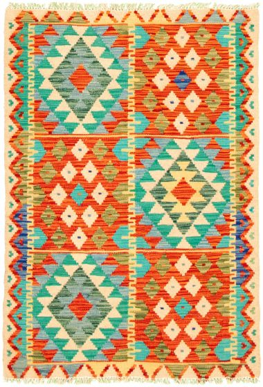 Bordered  Geometric Multi Area rug 3x5 Turkish Flat-weave 330192