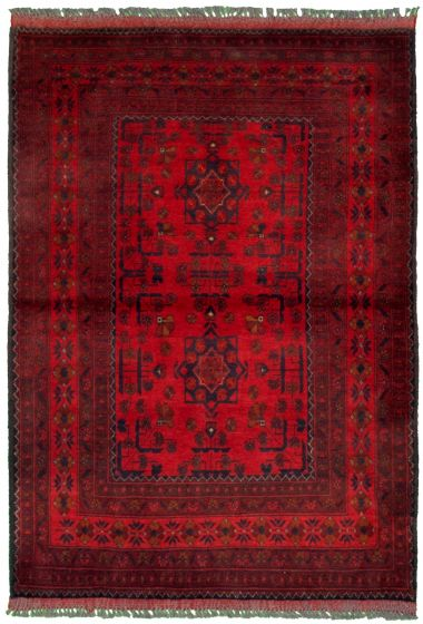 Bordered  Tribal Red Area rug 3x5 Afghan Hand-knotted 330283
