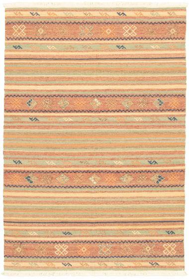 Bohemian  Transitional Green Area rug 3x5 Turkish Flat-weave 335892