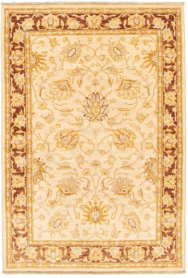 Bordered  Traditional Ivory Area rug 3x5 Afghan Hand-knotted 336194