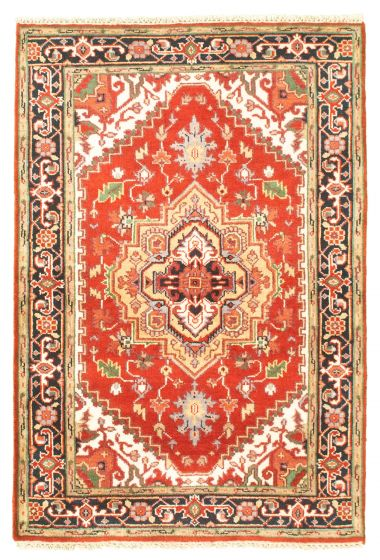 Bordered  Traditional Red Area rug 3x5 Indian Hand-knotted 344891
