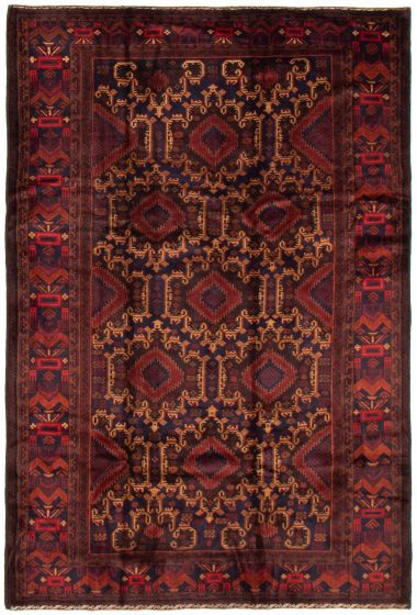Bordered  Tribal Blue Area rug 5x8 Afghan Hand-knotted 358316