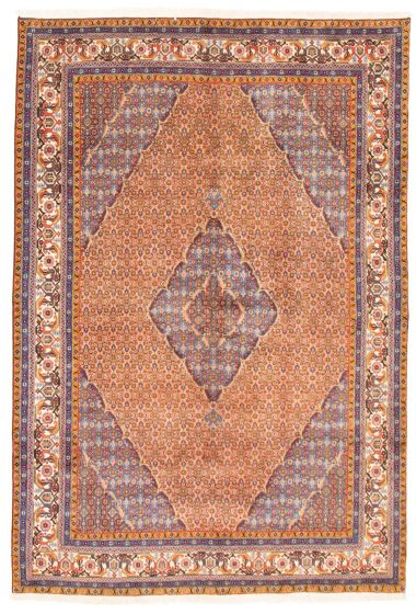 Bordered  Traditional Brown Area rug 6x9 Persian Hand-knotted 366436