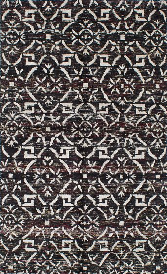 Transitional Black Area rug 5x8 Indian Hand-knotted 222209