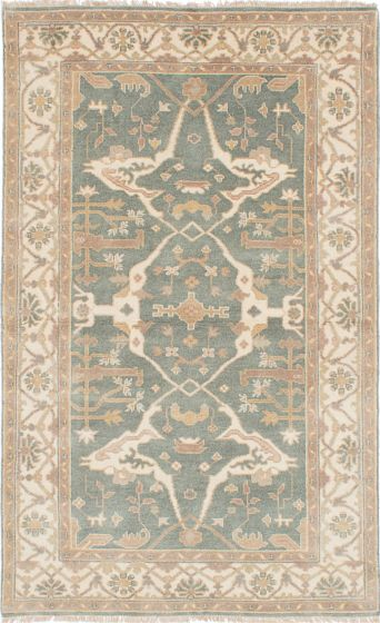 Traditional Blue Area rug 5x8 Indian Hand-knotted 223020