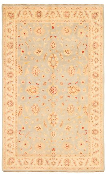 Bordered  Traditional Grey Area rug 6x9 Afghan Hand-knotted 331631