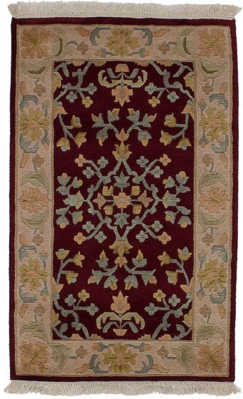 Transitional Red Area rug 3x5 Nepal Hand-knotted 54313