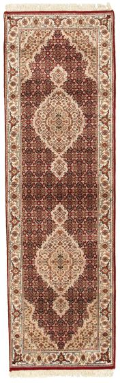 Bordered  Traditional Red Runner rug 8-ft-runner Indian Hand-knotted 309065