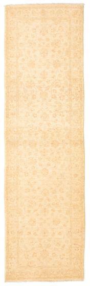 Bordered  Traditional Ivory Runner rug 10-ft-runner Afghan Hand-knotted 331269