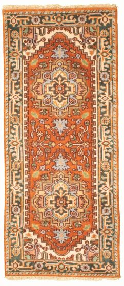Bordered  Traditional Brown Runner rug 6-ft-runner Indian Hand-knotted 331922
