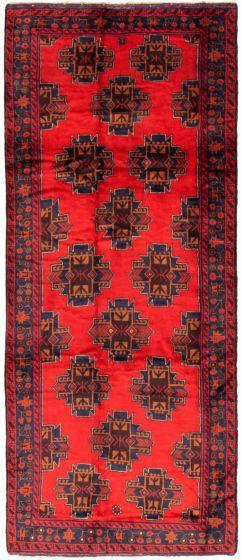 Bordered  Tribal Red Runner rug 10-ft-runner Afghan Hand-knotted 342399
