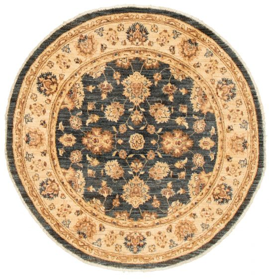 Bordered  Traditional Blue Area rug Round Afghan Hand-knotted 331500