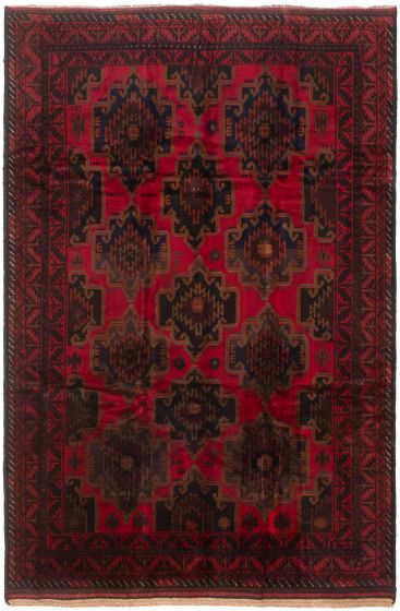 Geometric  Traditional Red Area rug 8 x 13 Afghan Hand-knotted 215508