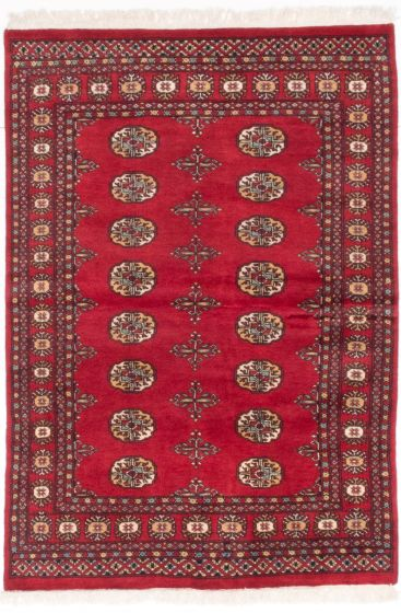Traditional Red Area rug 3x5 Pakistani Hand-knotted 204924