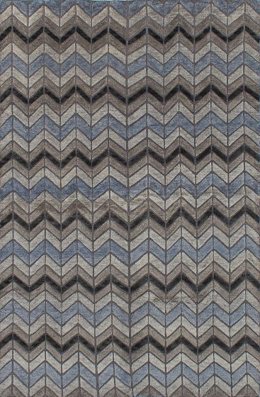 Transitional Grey Area rug 5x8 Indian Hand-knotted 219385