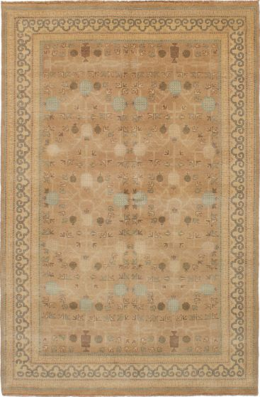 Bordered  Traditional Brown Area rug 5x8 Indian Hand-knotted 271636