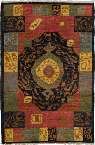 Casual  Transitional Blue Area rug 3x5 Indian Hand-knotted 280104
