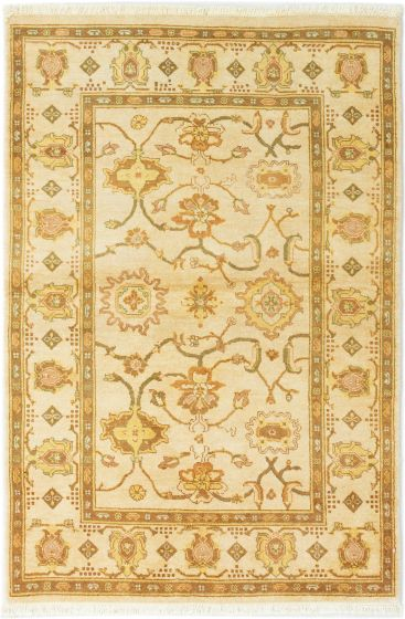 Bordered  Traditional Ivory Area rug 3x5 Afghan Hand-knotted 280380