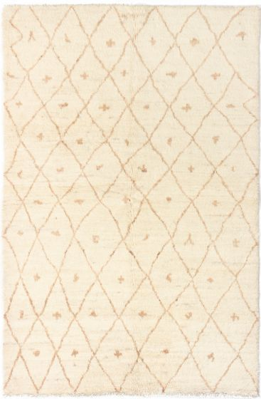 Moroccan  Traditional Ivory Area rug 5x8 Indian Hand-knotted 280500