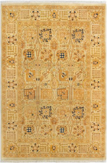 Bordered  Traditional Brown Area rug 5x8 Pakistani Hand-knotted 280576