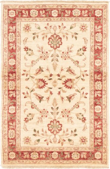 Bordered  Traditional Ivory Area rug 3x5 Afghan Hand-knotted 293036