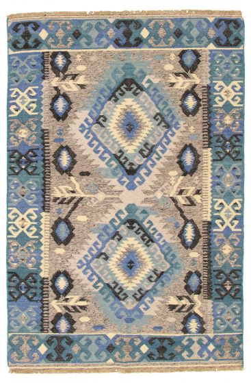 Flat-weaves & Kilims  Geometric Blue Area rug 5x7 Turkish Flat-weave 315864
