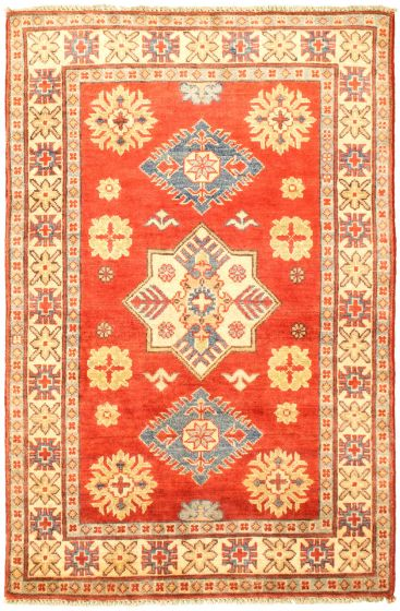 Bordered  Traditional Red Area rug 3x5 Afghan Hand-knotted 329869