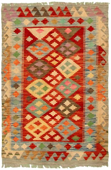Bordered  Geometric Grey Area rug 3x5 Turkish Flat-weave 330238