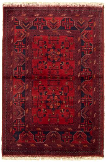 Bordered  Tribal Red Area rug 3x5 Afghan Hand-knotted 330281