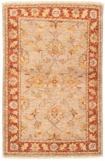 Bordered  Traditional Grey Area rug 3x5 Afghan Hand-knotted 330441