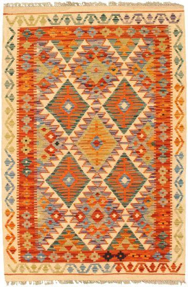 Bordered  Geometric Ivory Area rug 3x5 Turkish Flat-weave 330640