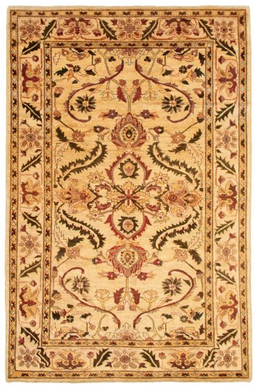 Bordered  Traditional Ivory Area rug 6x9 Afghan Hand-knotted 331489