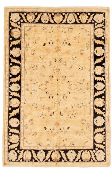 Bordered  Traditional Ivory Area rug 5x8 Afghan Hand-knotted 331602
