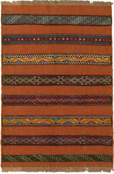 Carved  Stripes Brown Area rug 3x5 Turkish Hand-knotted 333994