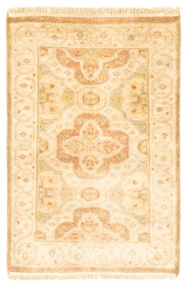 Bordered  Traditional Ivory Area rug 2x3 Indian Hand-knotted 344923
