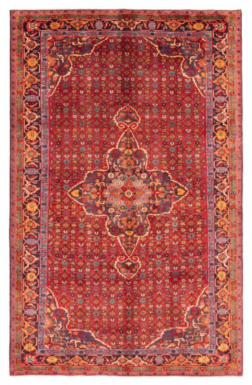 Bordered  Traditional Red Area rug Unique Persian Hand-knotted 366592