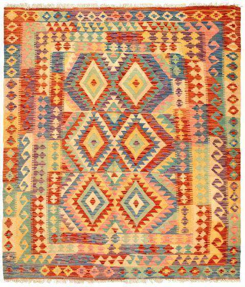 Bordered  Geometric Ivory Area rug 4x6 Turkish Flat-weave 329975