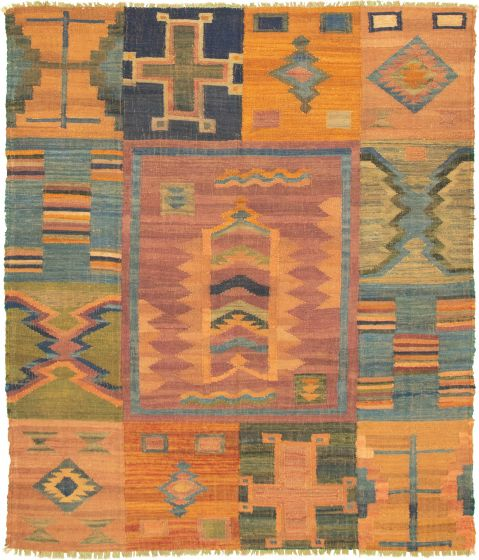 Casual  Transitional Brown Area rug 6x9 Turkish Flat-weave 336021