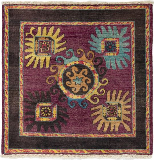 Casual  Transitional Purple Area rug Square Indian Hand-knotted 280015