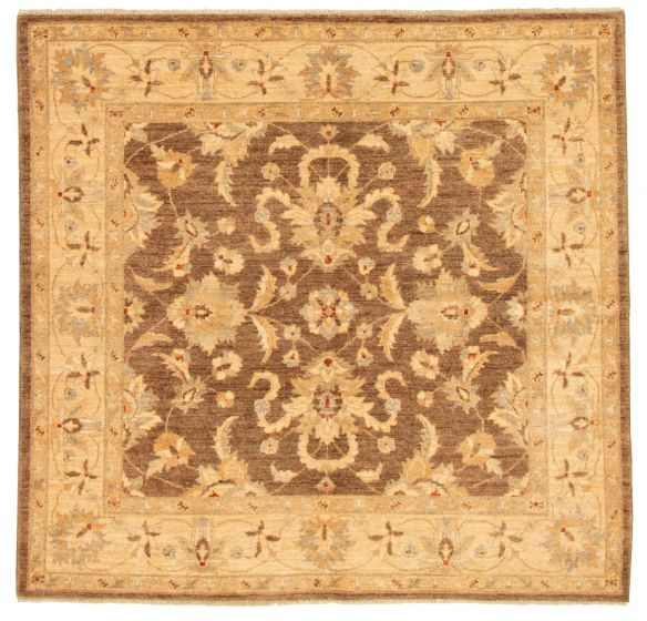 Bordered  Traditional Brown Area rug Square Afghan Hand-knotted 331532