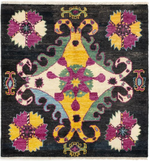 Casual  Transitional Blue Area rug Square Indian Hand-knotted 280699
