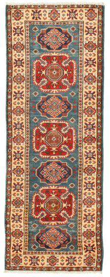 Bordered  Traditional Blue Runner rug 6-ft-runner Afghan Hand-knotted 331513