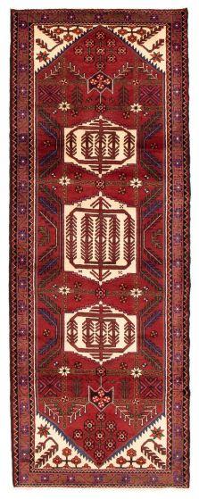 Bordered  Tribal Red Runner rug 10-ft-runner Turkish Hand-knotted 352437