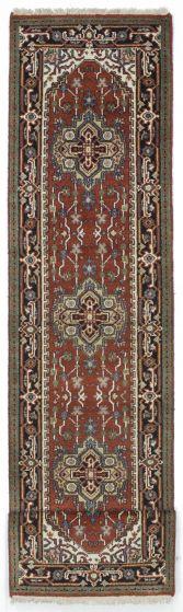 FloralTraditional Orange Runner rug 12-ft-runner Indian Hand-knotted 207591