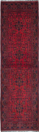 Traditional Red Runner rug 10-ft-runner Afghan Hand-knotted 222259