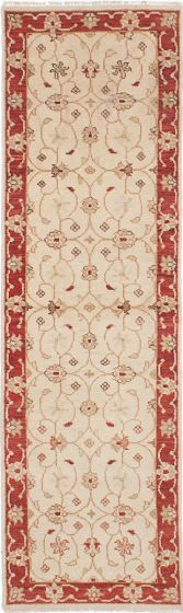 Traditional Ivory Runner rug 8-ft-runner Indian Hand-knotted 223878