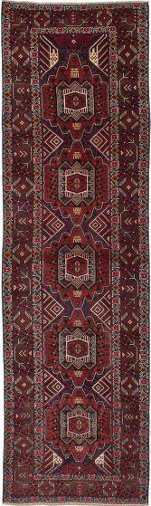 Bordered  Geometric Red Runner rug 11-ft-runner Afghan Hand-knotted 278511