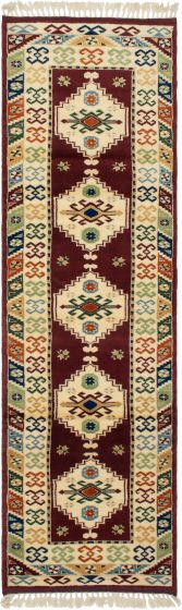 Bordered  Traditional Red Runner rug 9-ft-runner Turkish Hand-knotted 293635